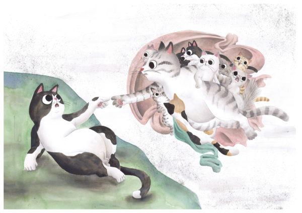 La creación de Adán, Miguel Ángel, ilustracion de gatos, comprar ilustracion de gatos,