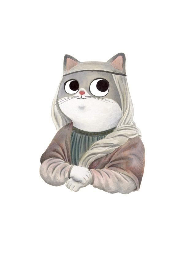 La Gioconda, Mona Lisa, Musee du Louvre, Leonardo da Vinci, ilustracion de gatos, comprar ilustracion de gatos,