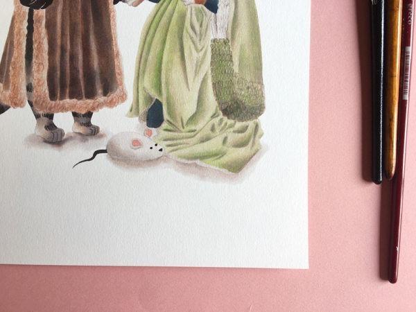 El matrimonio Arnolfini, Jan Van Eyck, ilustracion de gatos, comprar ilustracion de gatos,