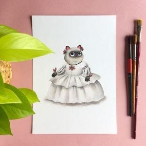 Las Meninas, Velazquez, Museo del Prado, ilustracion de gatos, comprar ilustracion de gatos,