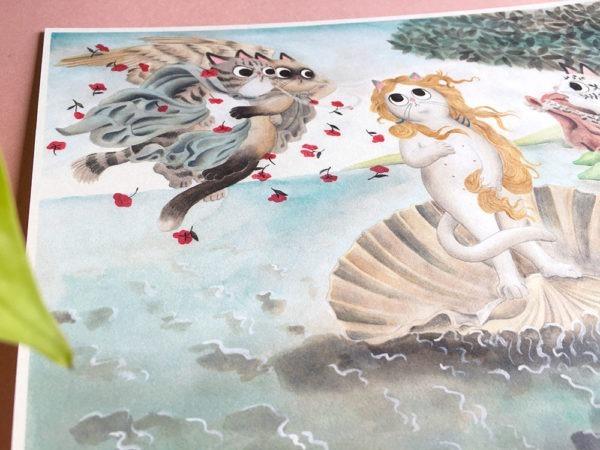 El Nacimiento de Venus, Botticelli, ilustracion de gatos, comprar ilustracion de gatos,