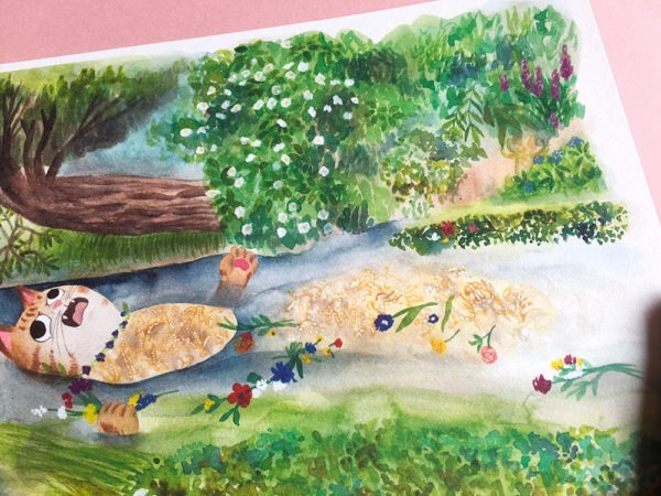 Ophelia cuadro, ilustracion de gatos, comprar ilustracion de gatos,