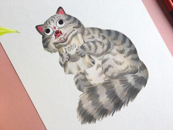 Saturno devorando a su hijo, Goya, Museo del Prado, ilustracion de gatos, comprar ilustracion de gatos,