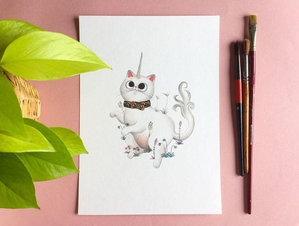 El unicornio en cautividad, ilustracion de gatos, comprar ilustracion de gatos,