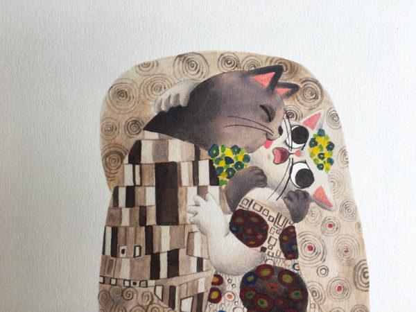 el beso, Gustav Klimt, ilustracion de gatos,
