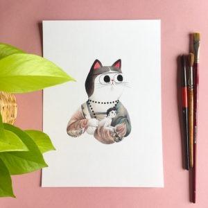 La dama del armiño, Leonardo da Vinci, ilustracion de gatos, comprar ilustracion de gatos,