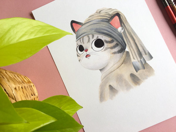 La joven de la perla, Vermeer, Leonardo da Vinci, ilustracion de gatos, comprar ilustracion de gatos,