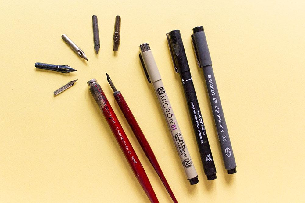 Bolígrafos de dibujo técnico y plumillas