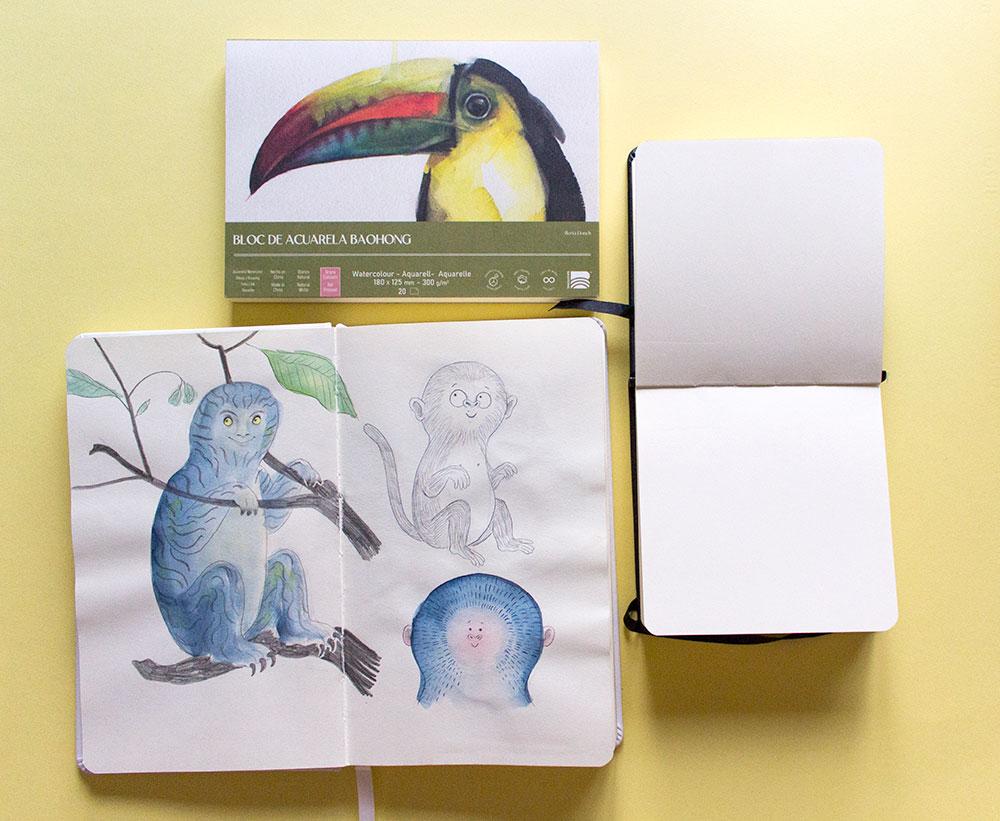 Cuaderno de bocetos como materiales para dibujar