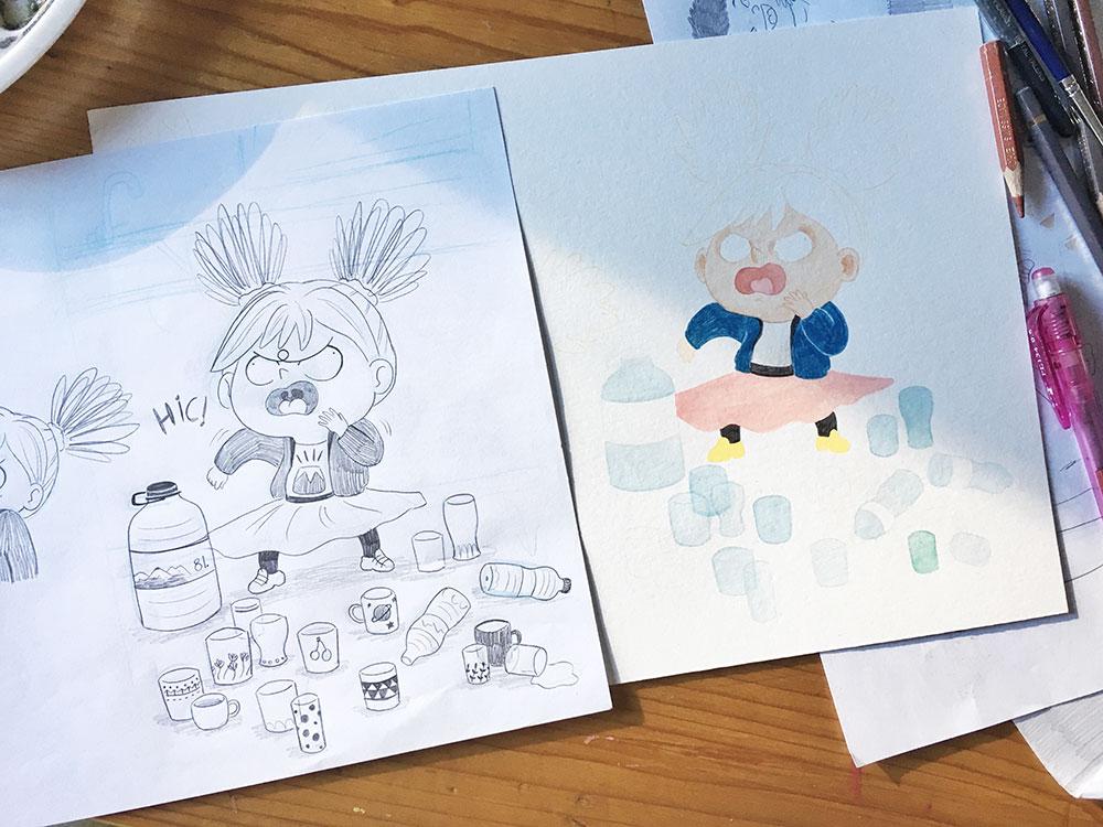 calcar el boceto de una ilustración
