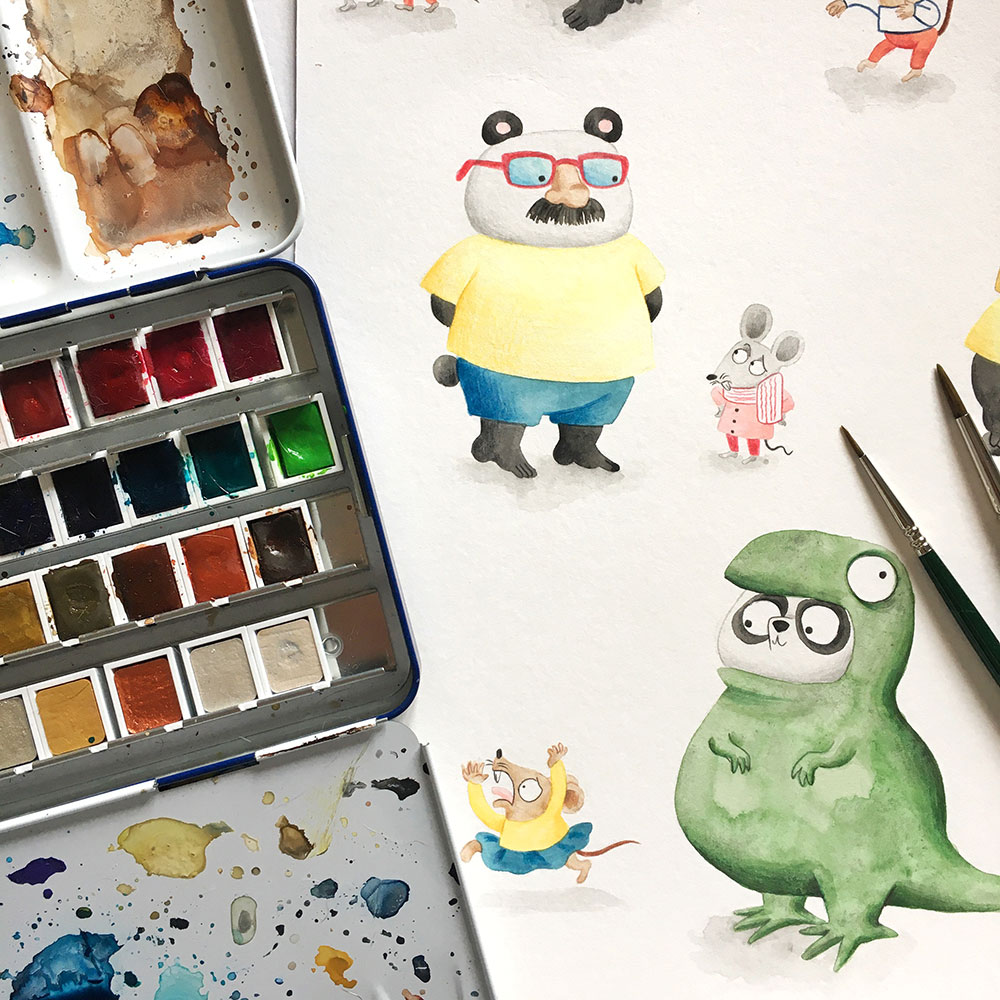 Ilustraciones de pandas pintados en acuarela,